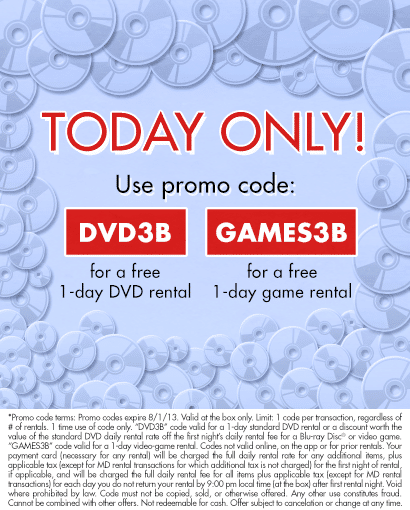 Take a look at our 5 Redbox coupon codes including 1 coupon code, and 4 sales. Most popular now: Free 1 day DVD Rental or $ off Game/Blu-ray Rental (Text says second one free). Latest offer: Free 1 day DVD Rental or $ off Game/Blu-ray Rental (Text says second one free).