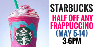Get half off any Frappuccino at Starbucks starting from May 5th thru May 14th from 3PM to 6PM. Make sure your store is participating before you make a special trip! Gather your friends and celebrate your summer selves. Happy Hour is here—from May 5 to 14, all Frappuccino® blended beverages are half off from 3–6 p.m. at participating stores. Whatever flavors make you smile: it's Frappuccino season.