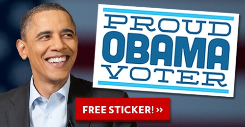 "FREE ""Proud Obama Voter"" Sticker"