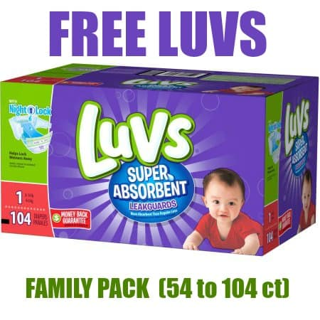 FREE Family Pack of Luvs Super Absorbent Diapers