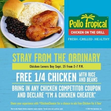 image relating to Pollo Tropical Printable Coupons known as Free of charge 1/4 Hen with Rice and Beans at Pollo Tropical upon