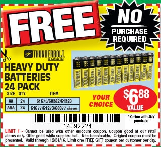 FREE 24 pk AA or AAA Batteries at Harbor Freight