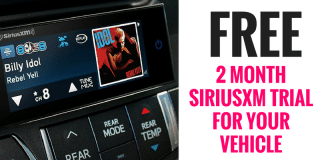 Get a SiriusXM FREE 2 month trial for your Vehicle! Got a pre-owned vehicle with an inactive SiriusXM radio? You may be eligible for a free trial in your vehicle. I did this myself and after 2 months the trial just ended. No need to call and cancel!