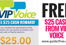 FREE $25 Gift Card from VIP Voice