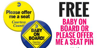 FREE Baby On Board or Please Offer Me A Seat Pin