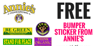 Get a FREE Bumper Sticker from Annie's!! You get to pick from a BE GREEN Bumper Sticker, STAND FOR PEACE Bumper Sticker, RECYCLE Sticker or THINK ORGANIC Sticker. Just fill out the form to have one mailed to you for free.
