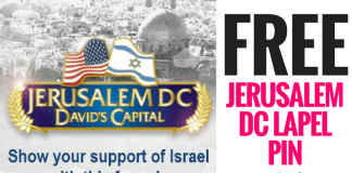 Get a FREE Jerusalem DC Lapel Pin! Show your support of Israel by wearing this free pin. Just fill out the form to request yours. This pin comes from Jerusalem world news. The Jerusalem World News provides expert opinion, analysis, and news about Israel and the Middle East. Based in Jerusalem, it is published five days a week, from Monday through Friday, with important breaking news added as events occur.