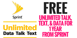 FREE Unlimited Talk, Text, & Data for 1 Year from Sprint